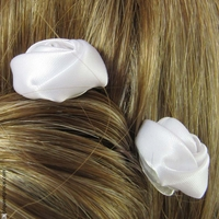 Pic à cheveux  rose blanche