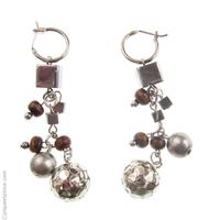 Boucles d'oreilles bois et perles