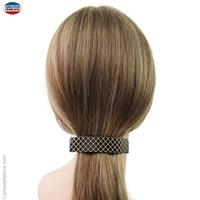 Barrette cheveux façon matelassée noire et crème