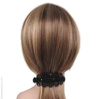 Barrette à cheveux rétro noir et strass