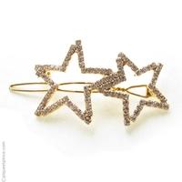 Barrette cheveux strass étoiles dorées