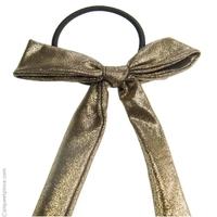 Élastique cheveux noeud en tissu lamé or