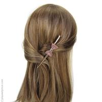 Pince à cheveux nœud rose pailleté