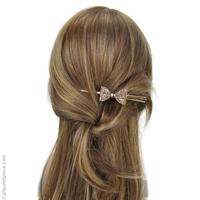 Pince à cheveux nœud or pailleté