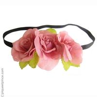 Couronne de fleurs vieux rose
