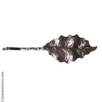 Petite barrette feuille métal argenté