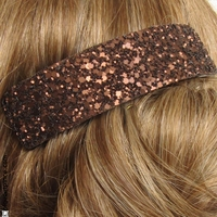 Barrette pailletée marron Mat
