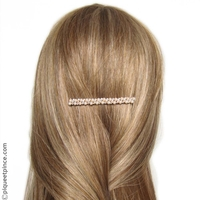 fine barrette cheveux or, perles et strass
