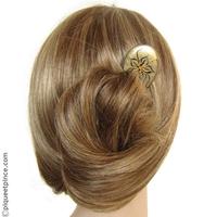 pic cheveux en bois peint argent