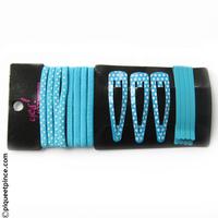 Barrettes et élastiques bleus