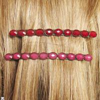 Fine barrette cheveux vintage rouge ou rose