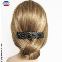 Barrette couleur noir filets or