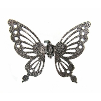 Mini pince à cheveux papillon argenté