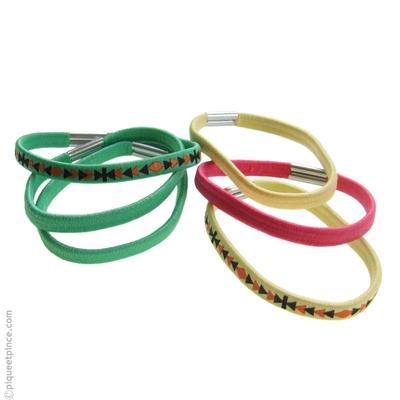 élastiques cheveux verts jaunes et rose