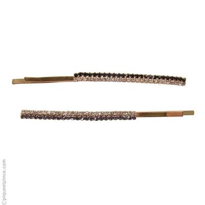 Barrette cheveux métal doré et strass