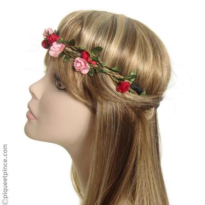 headband  fleur rouges et roses
