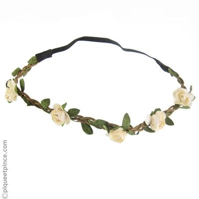headband petites fleurs blanc écru copie