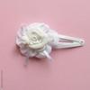 Barrette blanche enfant, fleur et coccinelle