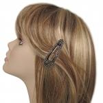 barrette cheveux - strass argentés et perles argentées   (1)