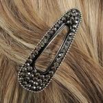 barrette cheveux - strass argentés et perles argentées   (2)