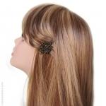 Barrette à cheveux fleur noire et or