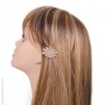 Barrette pour cheveux fleur crème et or