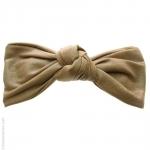 barrette cheveux beige - noeud  façon cuir
