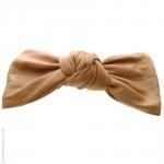 barrette cheveux noeud - couleur pêche façon cuir