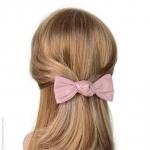barrette à cheveux  rose - noeud  façon cuir