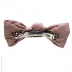 barrette de cheveux  rose - noeud  façon cuir