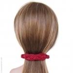 barrette à cheveux cuir tressé rouge
