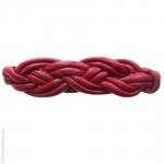 barrette cheveux cuir rouge tressé