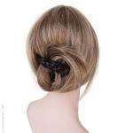 Barrette à cheveux croisée noire façon cuir tressé
