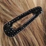 barrette à cheveux strass noirs et perles argentées