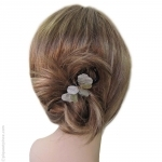 barrette cheveux pétales argentés
