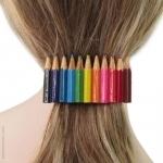 barrette cheveux  crayons