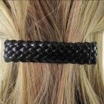 barrette pour cheveux cuirette  noir