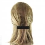 barrette à cheveux cuirette  noir