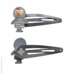 barrettes cheveux enfant - esquimaux gris