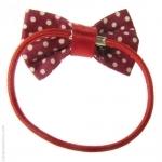 élastique cheveux noeud rouge à pois
