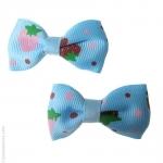 barrettes enfant  fraise rouge et bleu