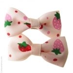 barrettes enfant  fraise rouge et crème