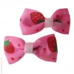 barrettes enfant  fraise rouge et fuschia