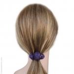 Élastique cheveux violet 3 boules passementerie