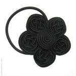 élastique cheveux fleur noire