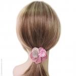 élastique cheveux pétales argent et rose