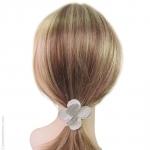 élastique cheveux pétales argent