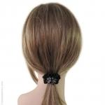 élastique cheveux noir  satin et cristal