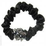 catogan satin noir et perles en cristal