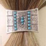 élastique à cheveux ethnique turquoise